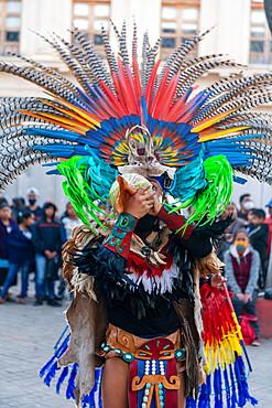 Tzotzil dancers performing for tourists, San Christobal de la Casa, Chiapas, Mexico