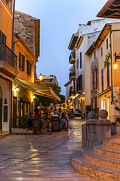 Historic old town of Alcudia at night, Mallorca, Spain - 1184-5784