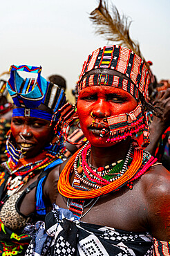 Traditional dressed women of the Jiye tribe, Eastern Equatoria State, South Sudan