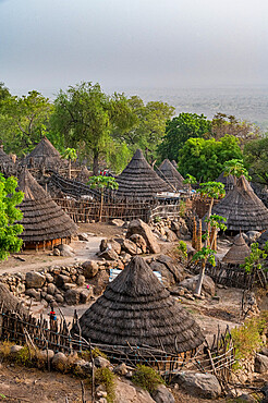Tradtional huts of the Otuho (Lotuko) tribe in a village in the Imatong mountains, Eastern Equatoria, South Sudan, Africa