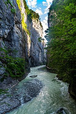 River Aare flowing through the Aare gorge, Meiringen, Bernese Oberland, Switzerland