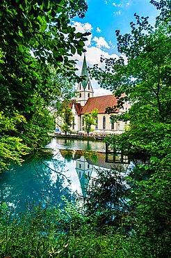 Blautopf, spring of the river Blau, Blaubeuren, Swabian Jura, Baden-Wurttemberg, Germany, Europe