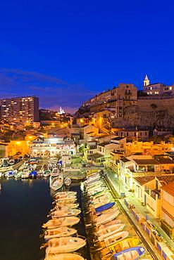 Port Du Vallon Des Auffes at night, Marseille, Bouches du Rhone, Provence, Provence-Alpes-Cote d'Azur, France, Mediterranean, Europe