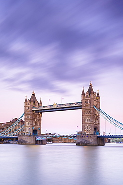 Tower Bridge from the south bank of the River Thames, London, England, United Kingdom, Europe