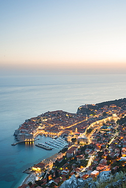 Dusk over the town of Dubrovnik, UNESCO World Heritage Site, Dubrovnik, Croatia, Europe