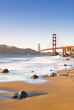 Golden Gate Bridge from Marshall's Beach, San Francisco, California, United States of America, North America