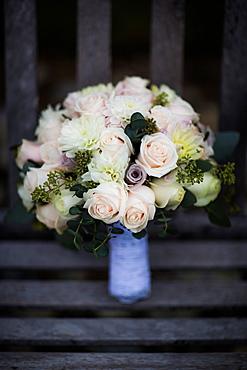 Bouquet on bench, United Kingdom, Europe