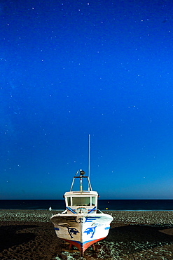 Fishing boat under the stars, Cabo de Gata, Andalusia, Spain, Europe