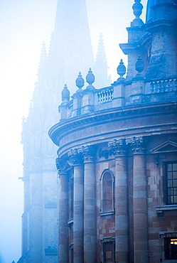 Radcliffe Camera and St. Mary's Church in the mist, Oxford, Oxfordshire, England, United Kingdom, Europe