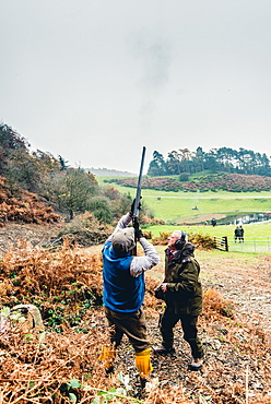 Gun on a hillside shooting at pheasants flying overhead, United Kingdom, Europe