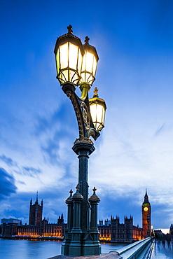 Lamp post on Westminster Bridge, London, England, United Kingdom, Europe