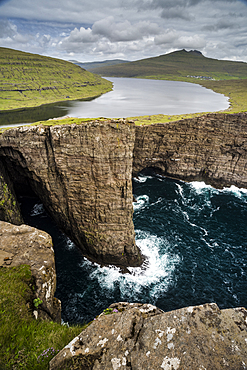 Traelanipa cliffs and Sorvagsvatn Lake, Vagar Island, Faroe Islands, Denmark, Atlantic, Europe
