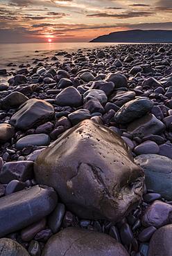 Porlock Weir at sunrise, Porlock, Somerset, England, United Kingdom, Europe