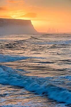 View looking towards Reynisfjara beach, at sunrise, Iceland, Polar Regions