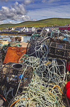 Crab pots piled up on the wharf at Portmagee, Skelligs Ring, Ring of Kerry, County Kerry, Munster, Republic of Ireland, Europe