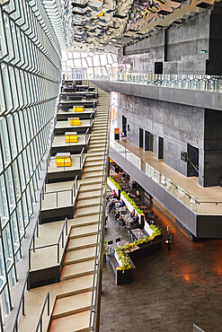 Inside the modern Harpa Concert Hall, beside the old harbour in Reykjavik, southwest Iceland.