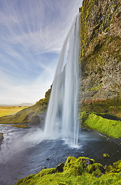 A spectacular sheer waterfall, Seljalandsfoss Falls, near Vik, near the south coast of Iceland, Polar Regions