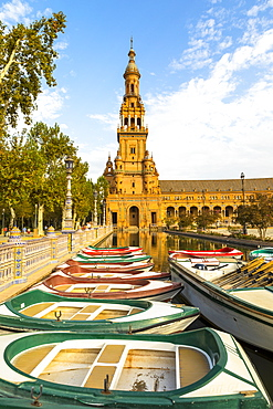 Row boats for hire in Plaza de Espana, built for the Ibero-American Exposition of 1929, Seville, Andalucia, Spain, Europe