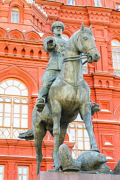 Marshal Zhukov monument with State Historical Museum in the background, Moscow, Russia, Europe