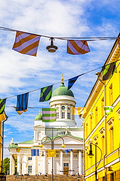 Bunting in front of Helsinki Cathedral in Helsinki, Finland, Europe