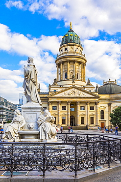 Statue in front of Deutscher Dom on Gendarmenmarkt square, Berlin, Germany