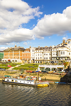 Buildings by river in Richmond, England, Europe