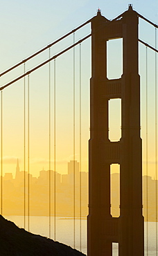 Golden Gate Bridge and San Francisco at dawn, California, United States of America, North America