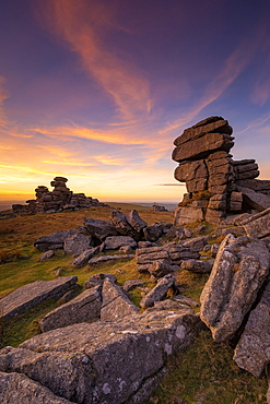Great Staple Tor at sunset in Dartmoor National Park, England, Europe - 1213-146