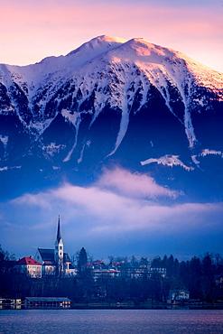 The Church of St. Martin at sunrise, Lake Bled, Slovenia, Europe