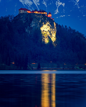Bled Castle at night, Lake Bled, Slovenia, Europe