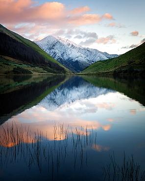 Kirkpatrick Lake at sunrise, Otago, South Island, New Zealand, Pacific