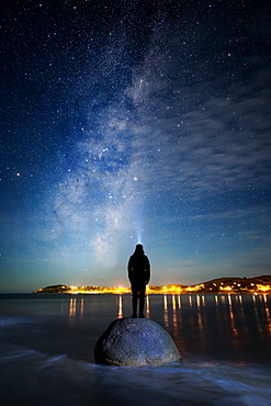 Star gazing at Moeraki Boulders, Milky Way, Koekohe Beach, Moeraki Peninsula, Otago, South Island, New Zealand, Pacific
