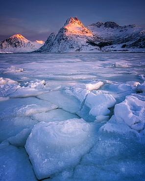 Cracked ice of Flakstadoya lake, Lofoten Islands, Nordland, Norway, Europe