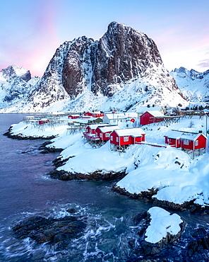 Rorbuer fishermen's huts in the snow, Hamnoy, Moskenesoya, Lofoten Islands, Nordland, Norway, Europe