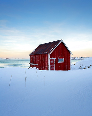 The Red Cabin by the sea, Lofoten Islands, Nordland, Norway, Europe