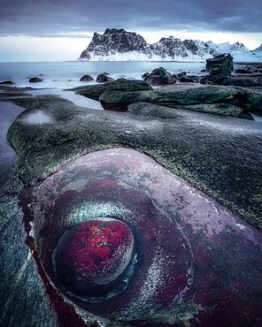 Dragon's Eye, Uttakleiv Beach, Lofoten Islands, Nordland, Norway, Europe