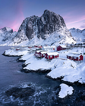 Rorbuer fishermen's huts in the snow, Hamnoy, Moskenesoya, Lofoten Islands, Nordland, Norway, Scandinavia, Europe
