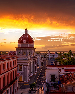 City Hall at sunset, Cienfuegos, UNESCO World Heritage Site, Cuba, West Indies, Caribbean, Central America