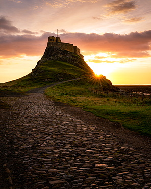 Lindisfarne Castle at sunrise, Holy Island, Northumberland, England, United Kingdom, Europe