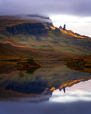 Loch Fada and the Old Man of Storr, Isle of Skye, Inner Hebrides, Scotland, United Kingdom, Europe