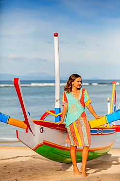 Woman at Sanur Beach, Bali, Indonesia, Southeast Asia, Asia