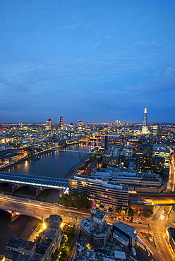 A night-time view of London and the River Thames from the top of the Southbank Tower, London, England, United Kingdom, Europe