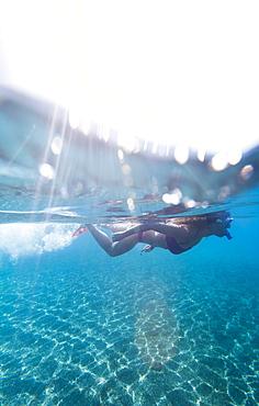 Snorkelling on the little Maltese island of Gozo, Malta, Mediterranean, Europe