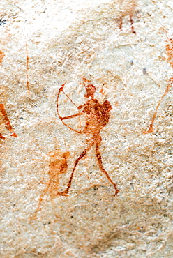 San rock art cave paintings on the wall of a rocky overhang in the Cederberg, Western Cape, South Africa, Africa