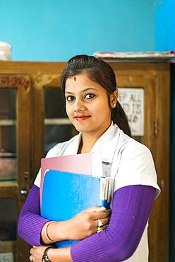 A nurse at Diktel hospital, Khotang District, Nepal, Asia