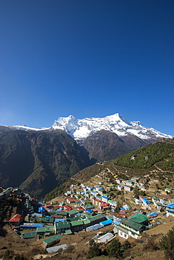 Namche Bazaar is the last town during the trek to Everest Base Camp, seen here with Kongde peak, Khumbu (Everest) Region, Nepal, Himalayas, Asia