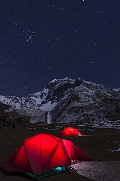 Camped at Samdo during the Manaslu circuit trek, Nepal, Himalayas, Asia