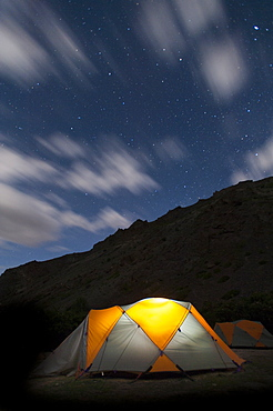 Camped under the stars during the Hidden Valleys trek, Ladakh, India, Asia