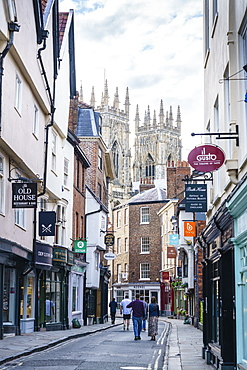 Low Petergate leading to York Minster, York, North Yorkshire, England, United Kingdom, Europe
