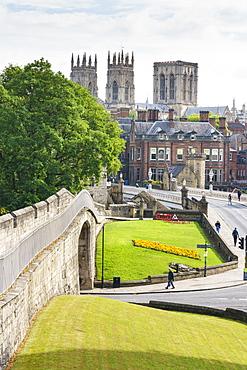 Medieval city walls and York Minster, York, North Yorkshire, England, United Kingdom, Europe - 1226-1030